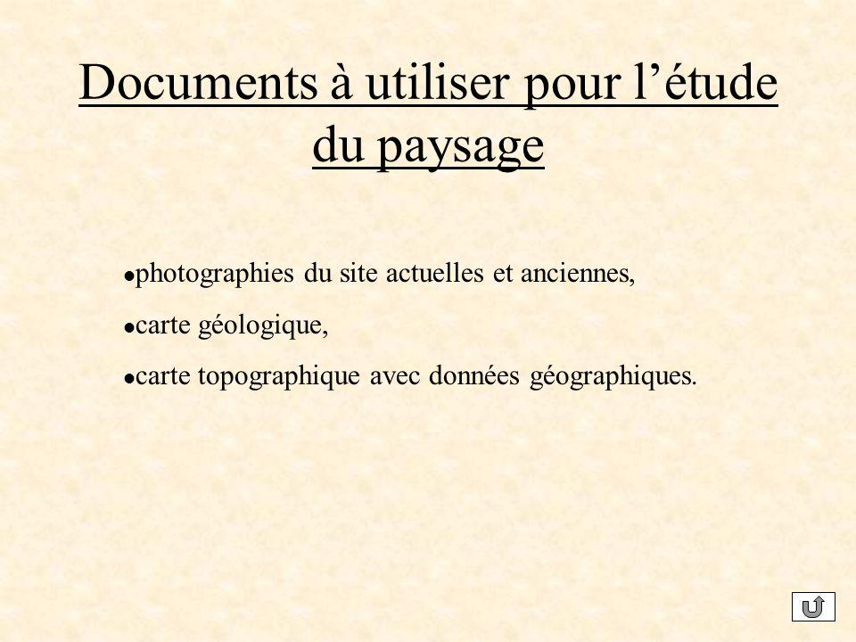 Documents à utiliser pour l'étude du paysage