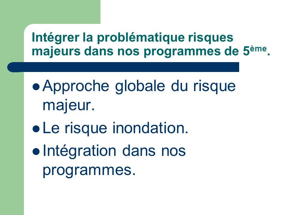 Intégrer la problématique risques majeurs dans nos programmes de 5ème.