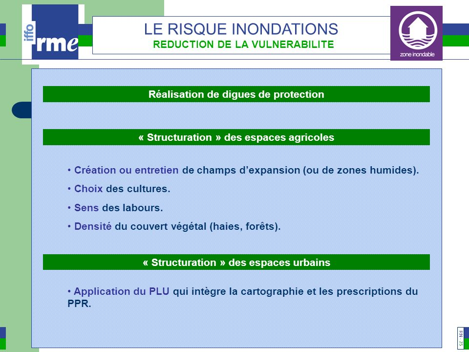 LE RISQUE INONDATIONS REDUCTION DE LA VULNERABILITE
