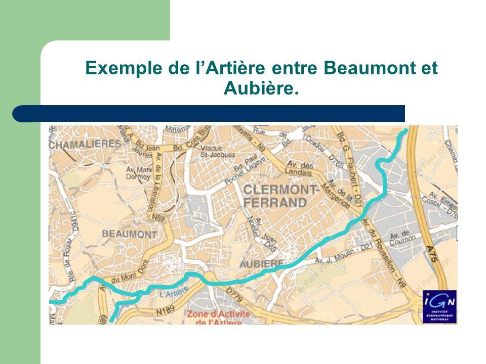 Exemple de l'Artière entre Beaumont et Aubière.