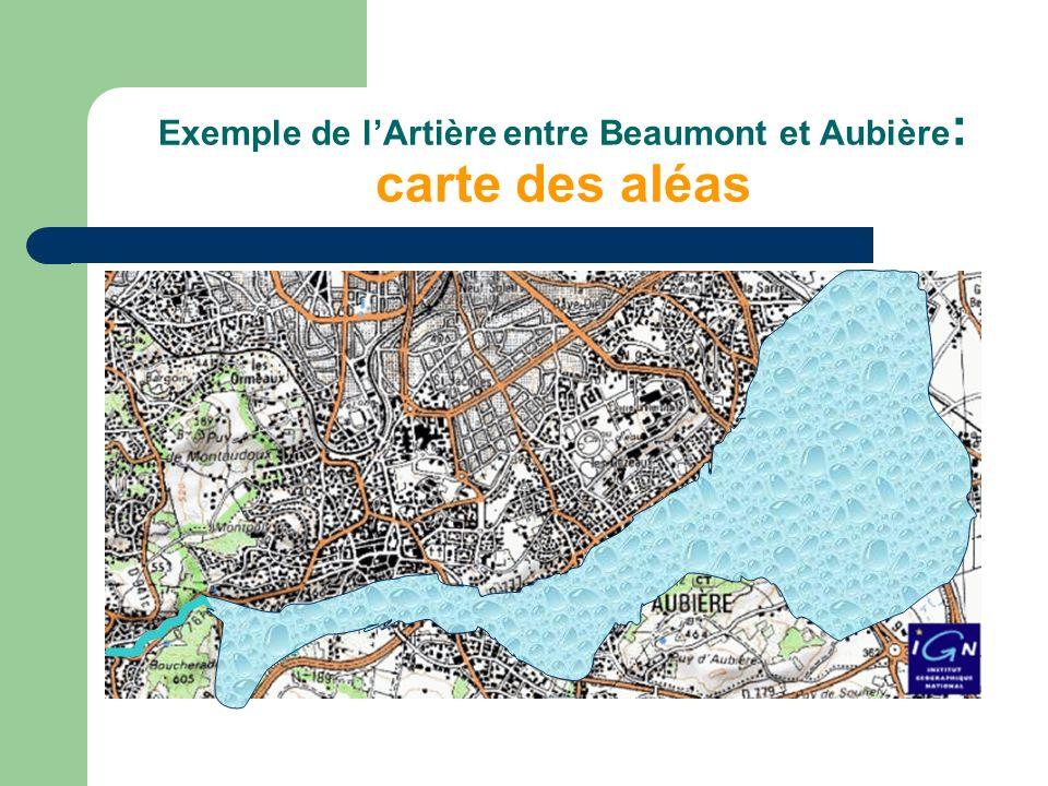 Exemple de l'Artière entre Beaumont et Aubière: carte des aléas