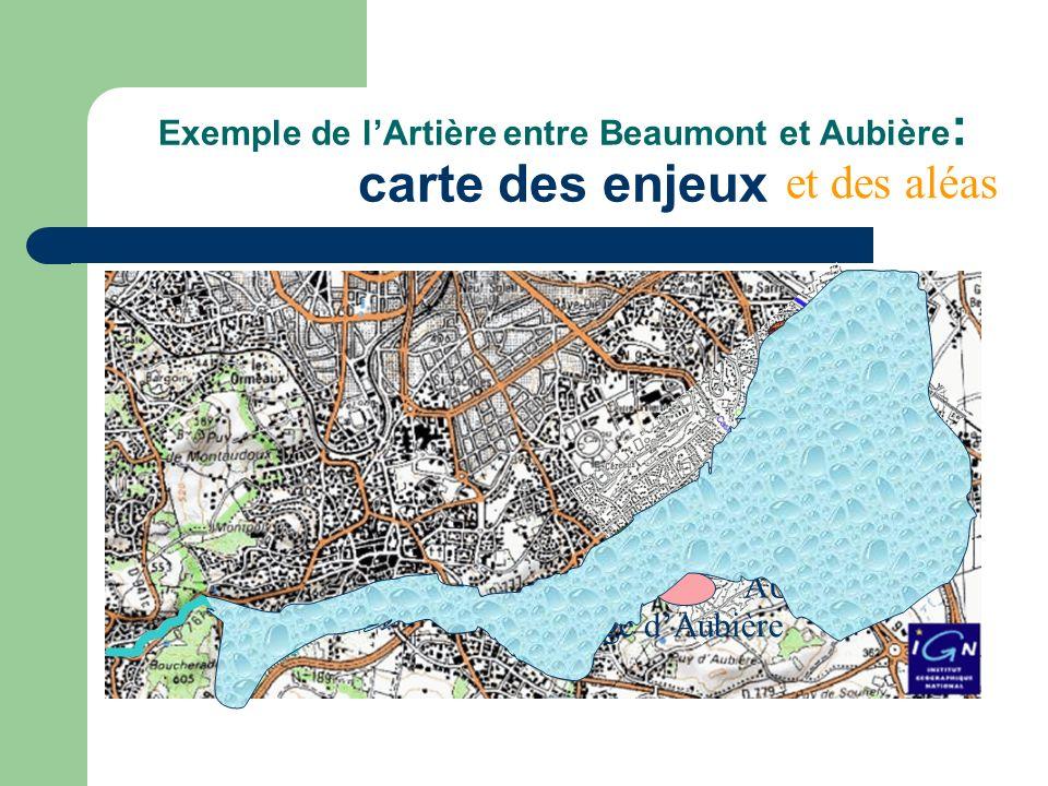 Exemple de l'Artière entre Beaumont et Aubière: carte des enjeux
