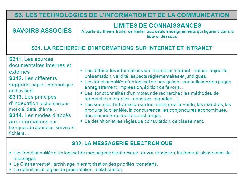 S3. LES TECHNOLOGIES DE L'INFORMATION ET DE LA COMMUNICATION