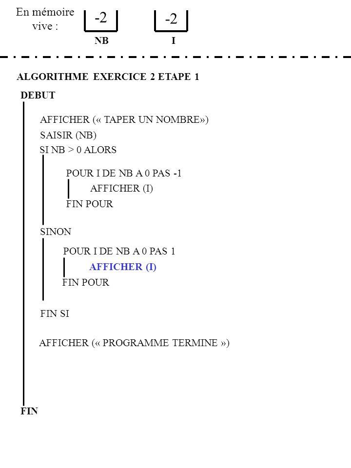 -2 -2 En mémoire vive : NB I ALGORITHME EXERCICE 2 ETAPE 1 DEBUT