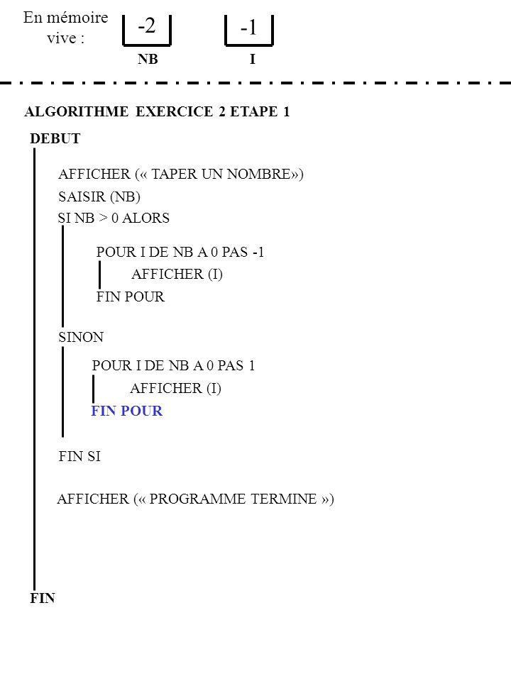 -2 -1 En mémoire vive : NB I ALGORITHME EXERCICE 2 ETAPE 1 DEBUT