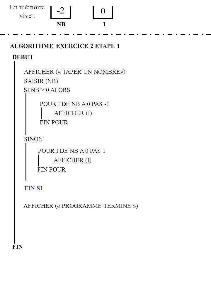 -2 En mémoire vive : NB I ALGORITHME EXERCICE 2 ETAPE 1 DEBUT