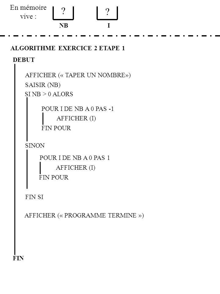 En mémoire vive : NB I ALGORITHME EXERCICE 2 ETAPE 1 DEBUT
