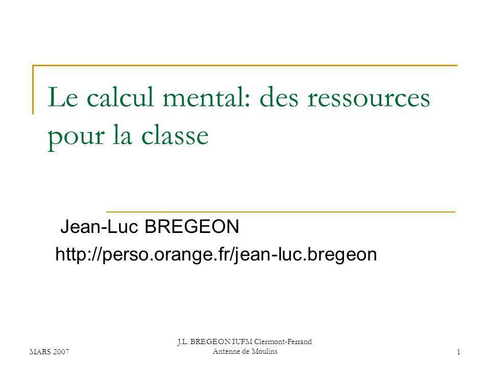 Le calcul mental: des ressources pour la classe