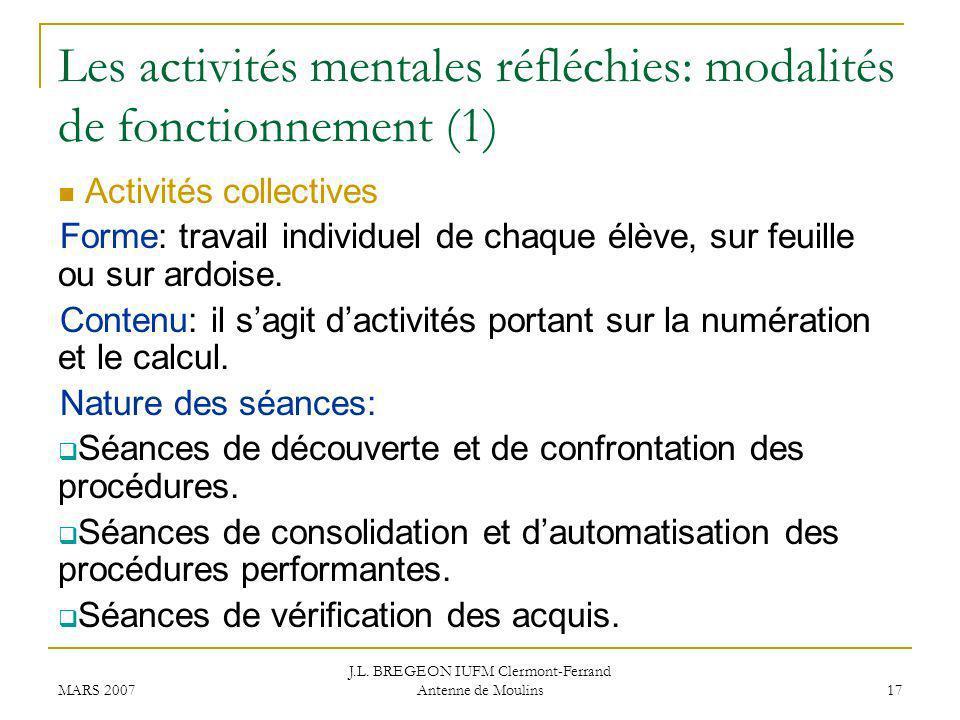 Les activités mentales réfléchies: modalités de fonctionnement (1)