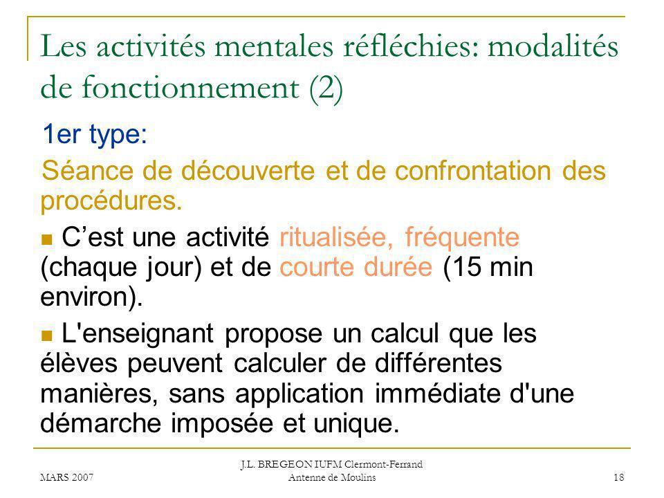 Les activités mentales réfléchies: modalités de fonctionnement (2)