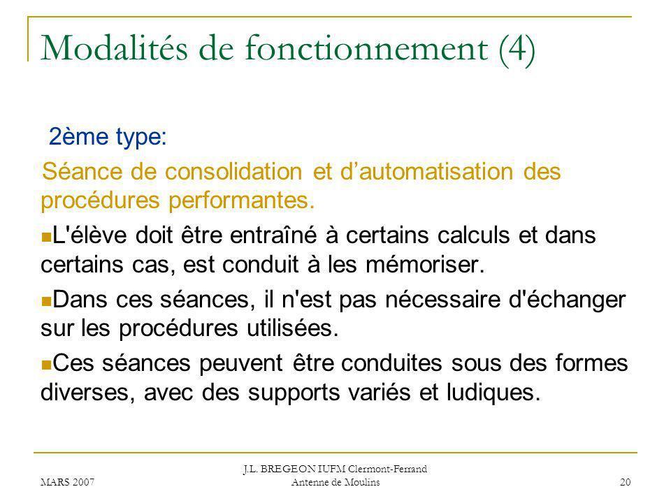 Modalités de fonctionnement (4)