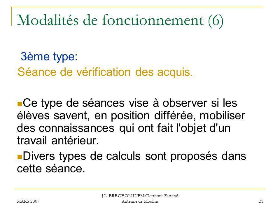 Modalités de fonctionnement (6)