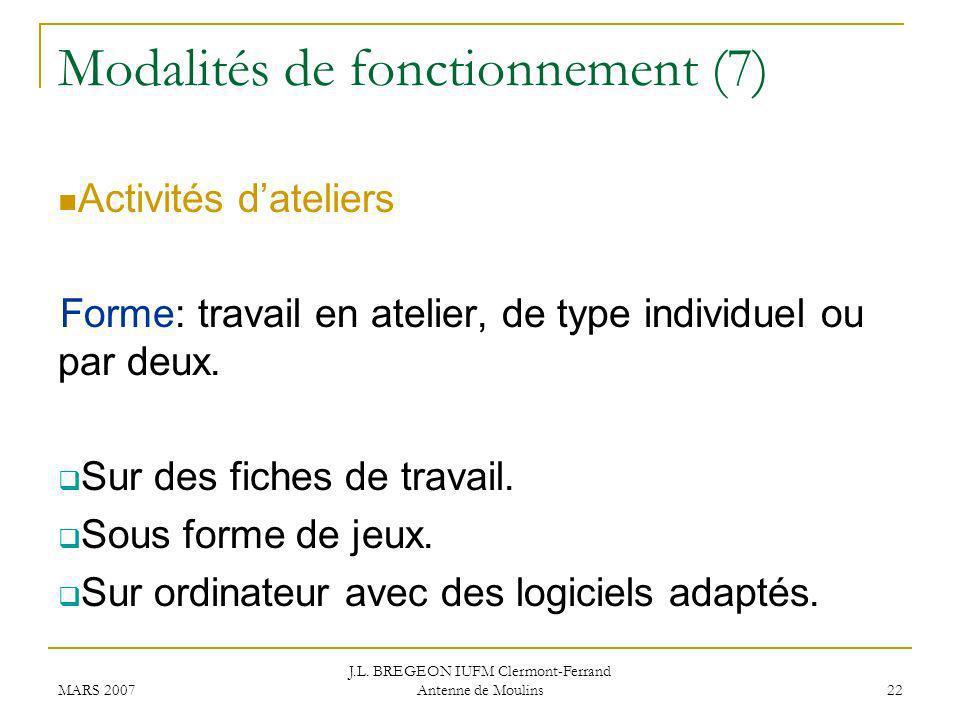 Modalités de fonctionnement (7)
