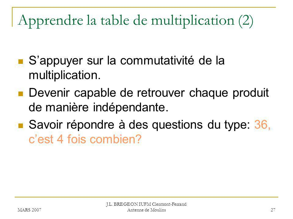 Apprendre la table de multiplication (2)