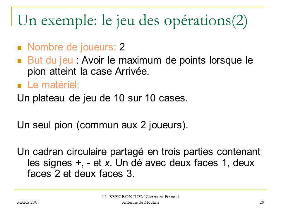 Un exemple: le jeu des opérations(2)