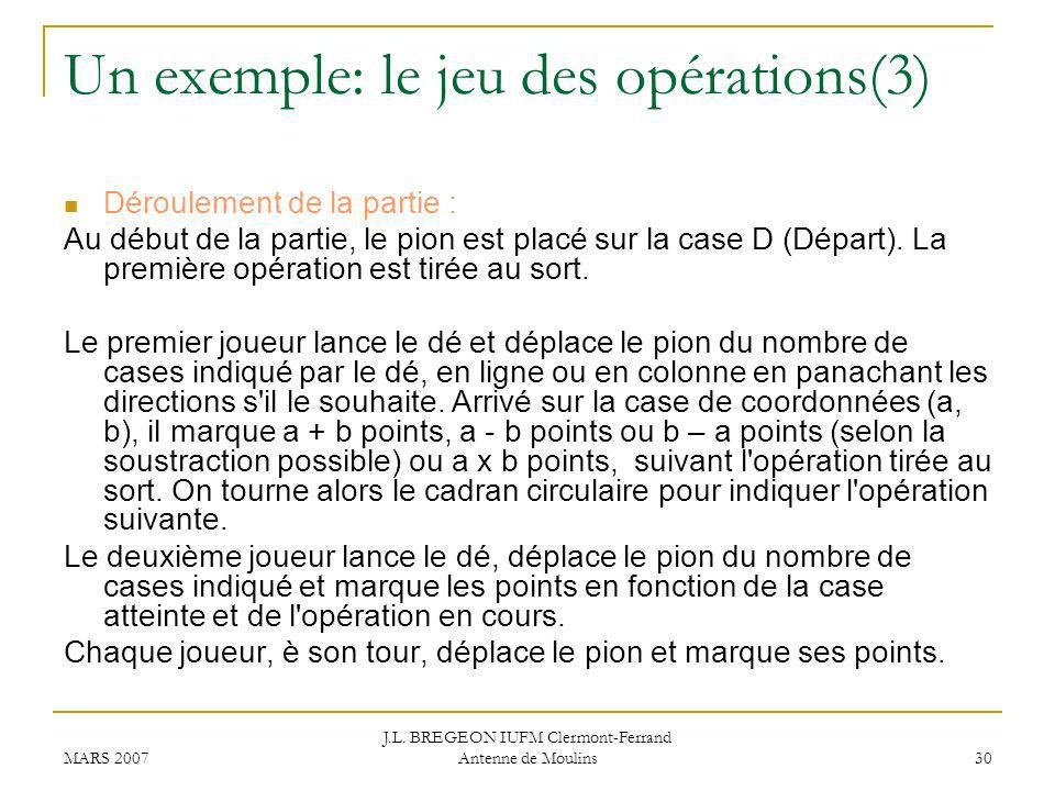Un exemple: le jeu des opérations(3)