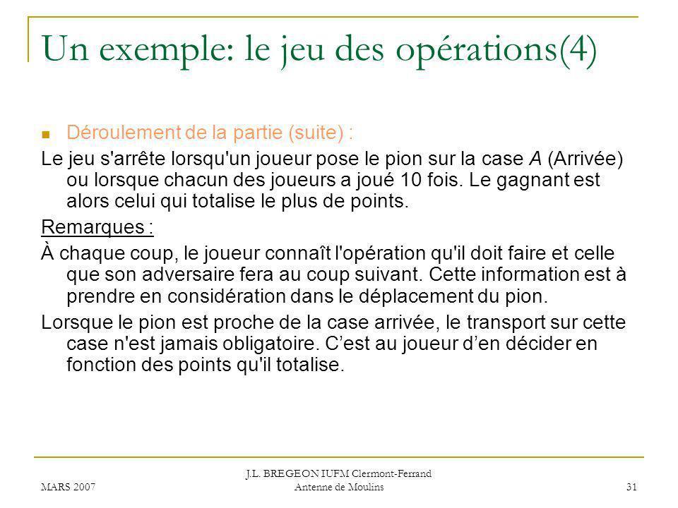 Un exemple: le jeu des opérations(4)