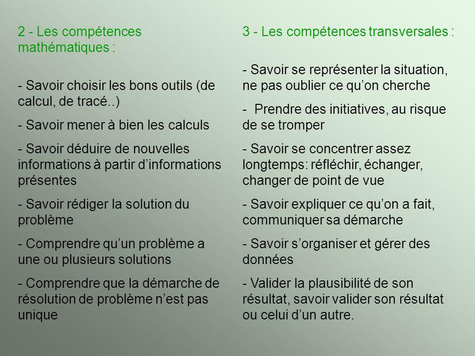 2 - Les compétences mathématiques :