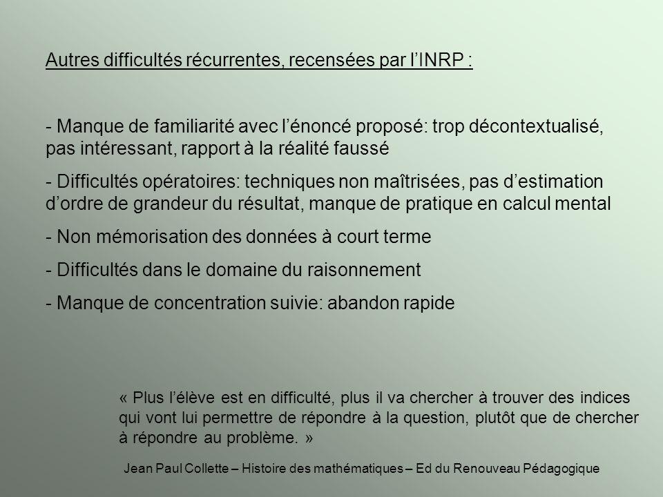 Autres difficultés récurrentes, recensées par l'INRP :