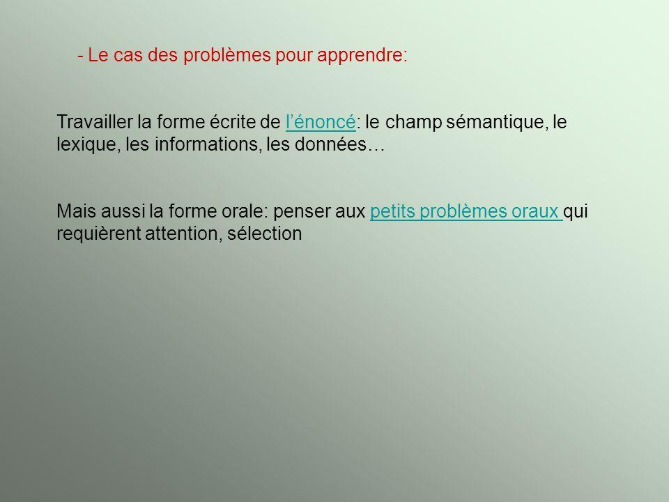 - Le cas des problèmes pour apprendre: