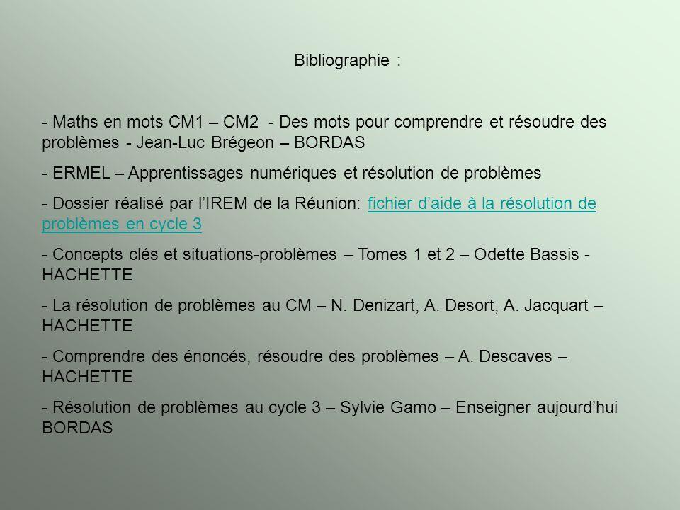 Bibliographie : Maths en mots CM1 – CM2 - Des mots pour comprendre et résoudre des problèmes - Jean-Luc Brégeon – BORDAS.