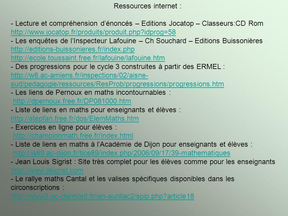 Ressources internet : - Lecture et compréhension d'énoncés – Editions Jocatop – Classeurs:CD Rom.