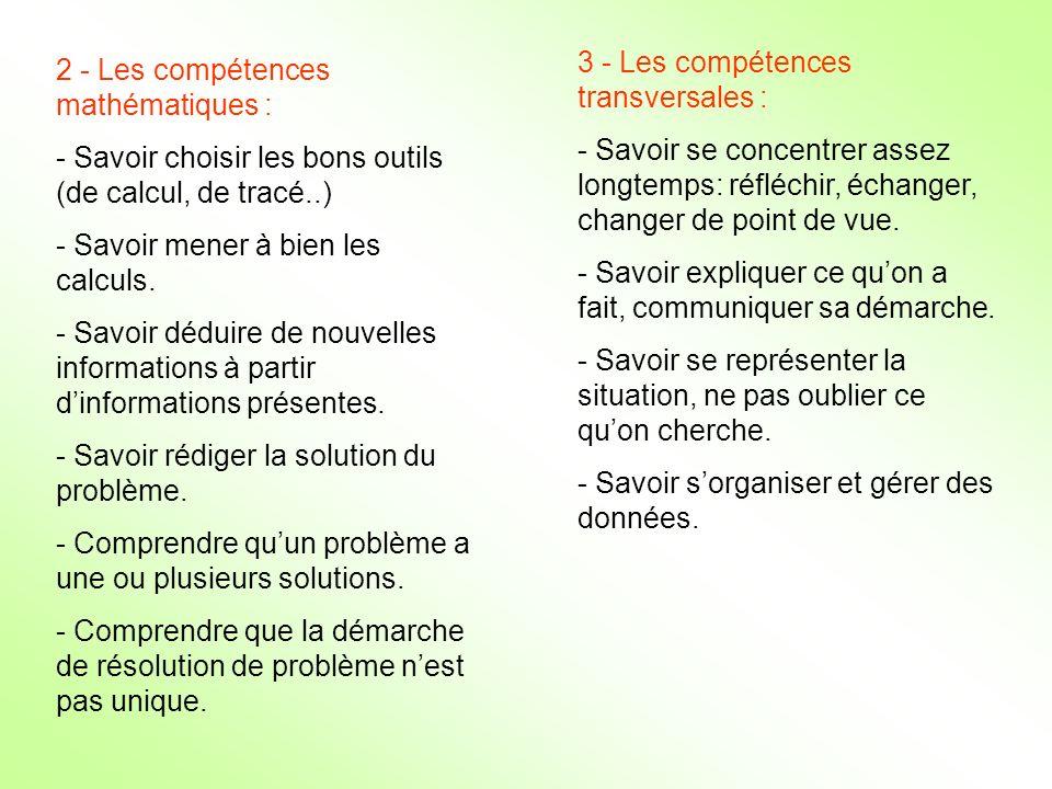 3 - Les compétences transversales :