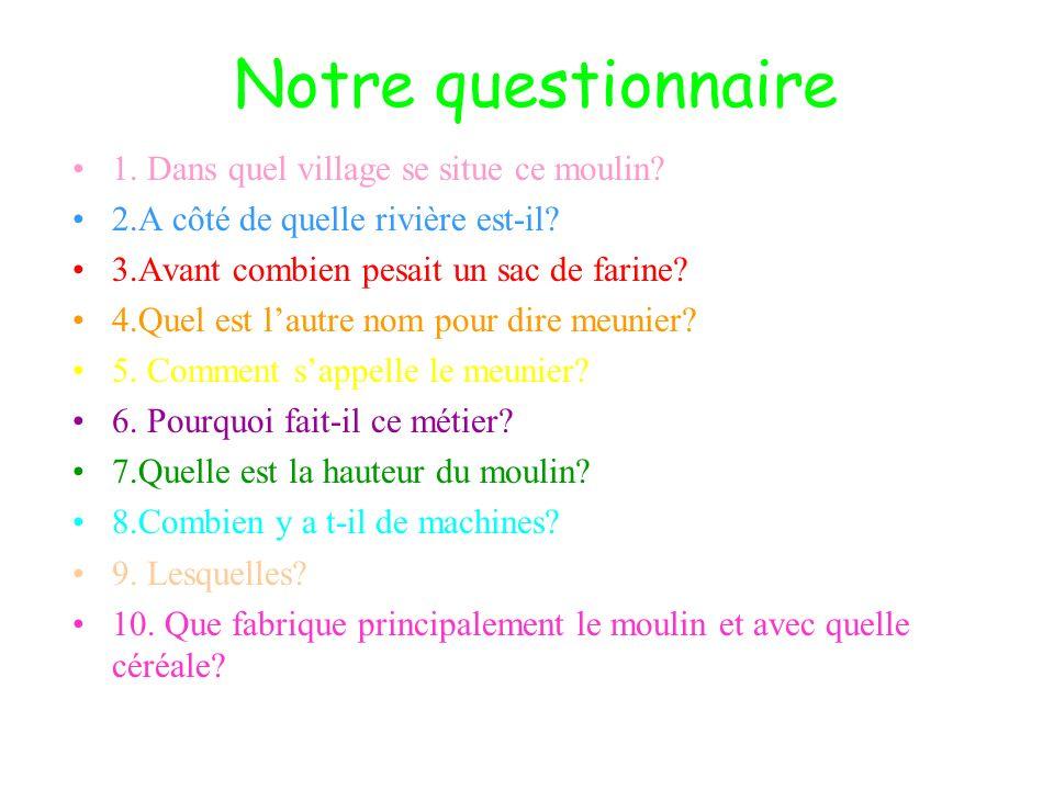 Notre questionnaire 1. Dans quel village se situe ce moulin