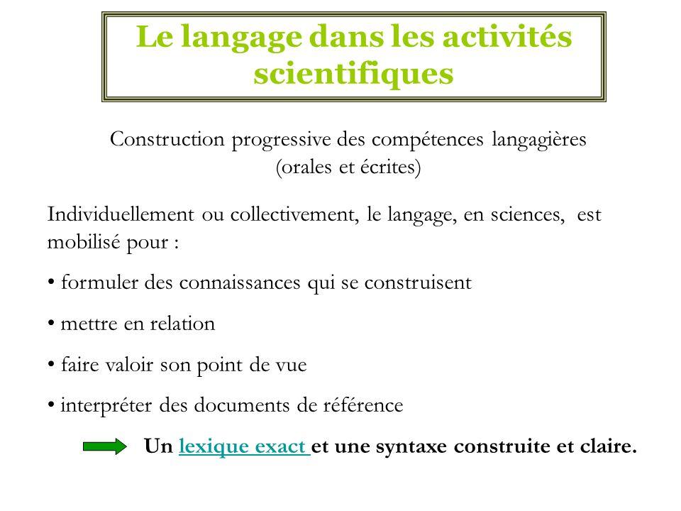 Le langage dans les activités scientifiques