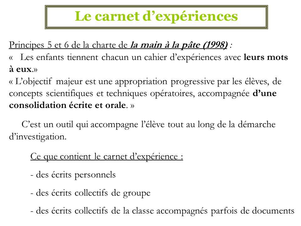 Le carnet d'expériences