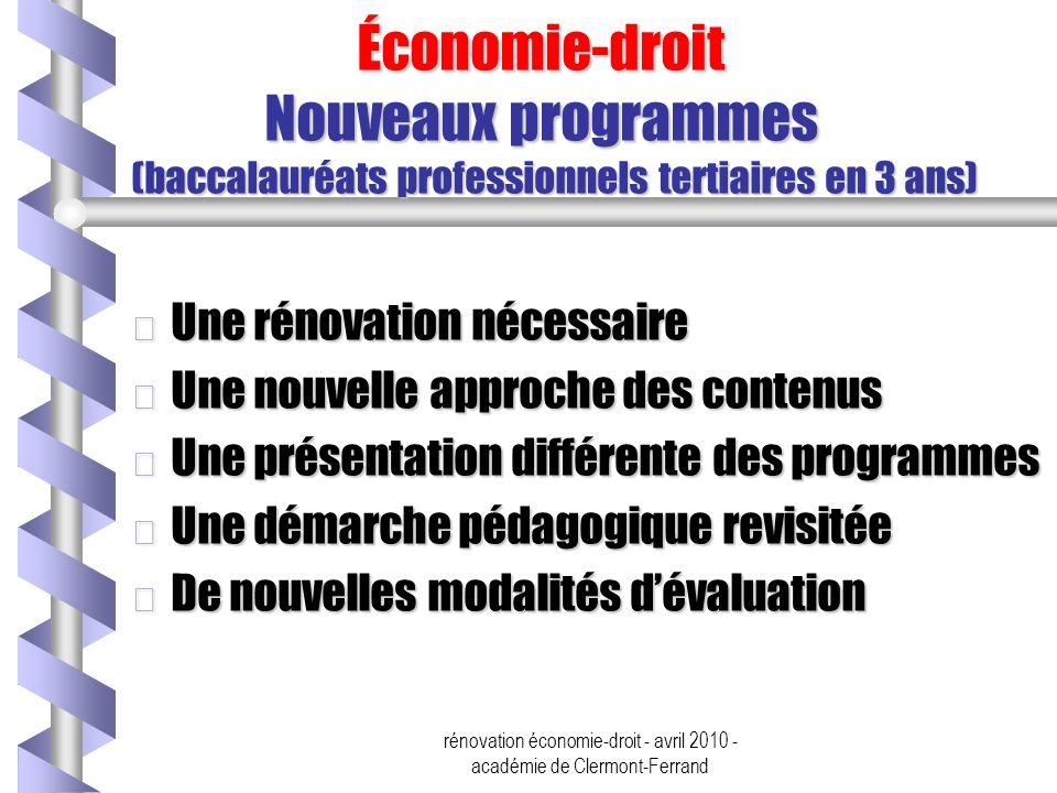 rénovation économie-droit - avril 2010 - académie de Clermont-Ferrand