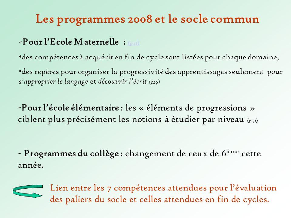 Les programmes 2008 et le socle commun