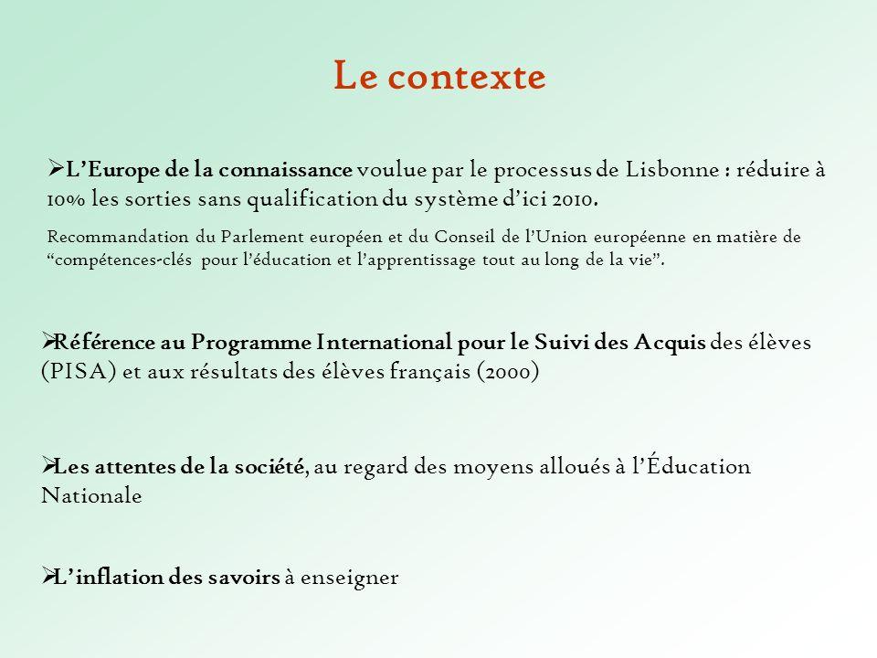 Le contexte L'Europe de la connaissance voulue par le processus de Lisbonne : réduire à 10% les sorties sans qualification du système d'ici 2010.