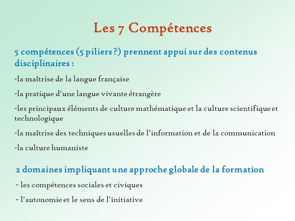 Les 7 Compétences 5 compétences (5 piliers ) prennent appui sur des contenus disciplinaires : -la maîtrise de la langue française.