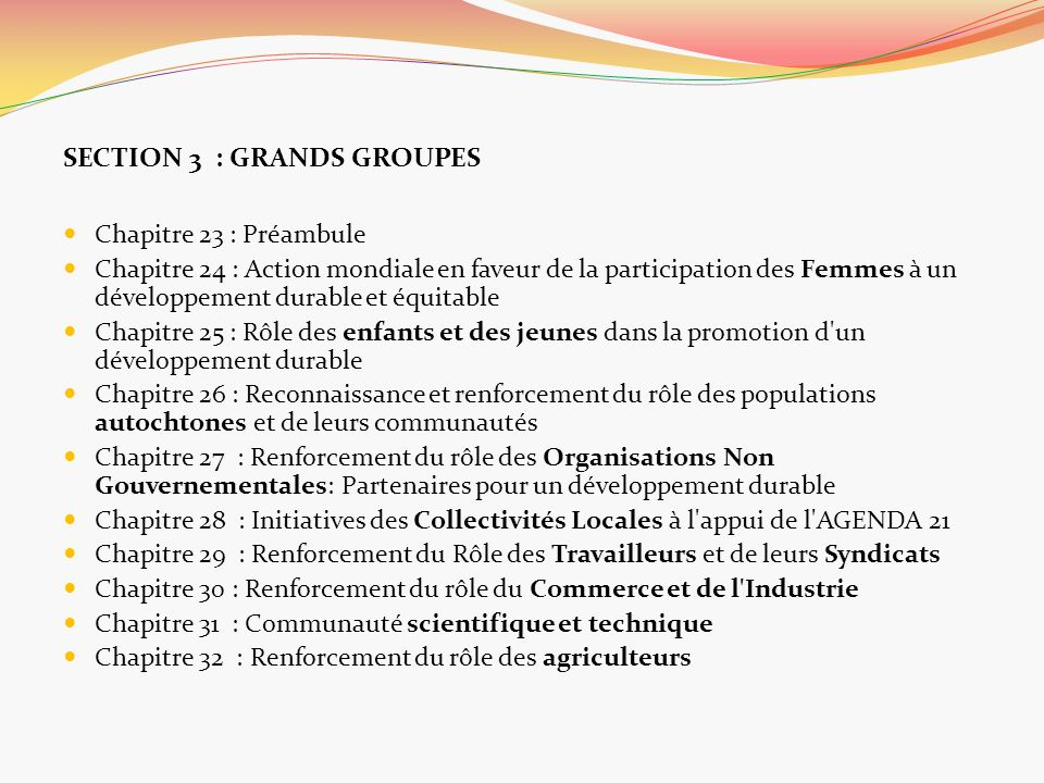SECTION 3 : GRANDS GROUPES