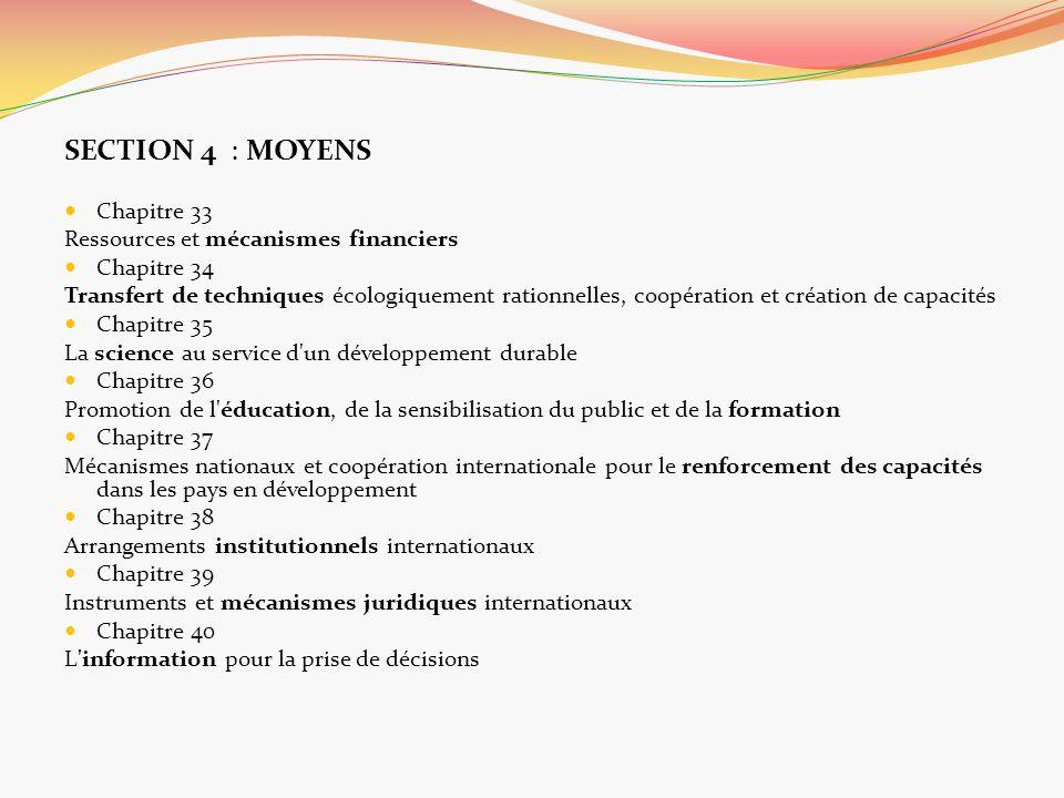 SECTION 4 : MOYENS Chapitre 33 Ressources et mécanismes financiers