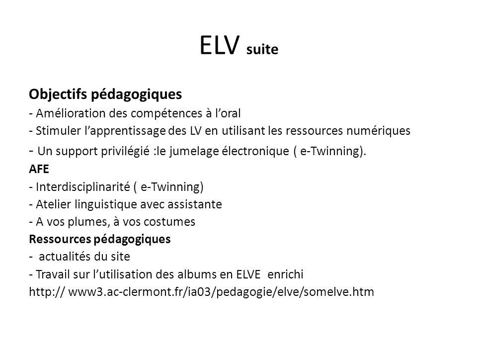 ELV suite Objectifs pédagogiques
