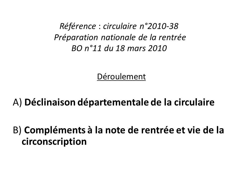 Référence : circulaire n°2010-38 Préparation nationale de la rentrée BO n°11 du 18 mars 2010