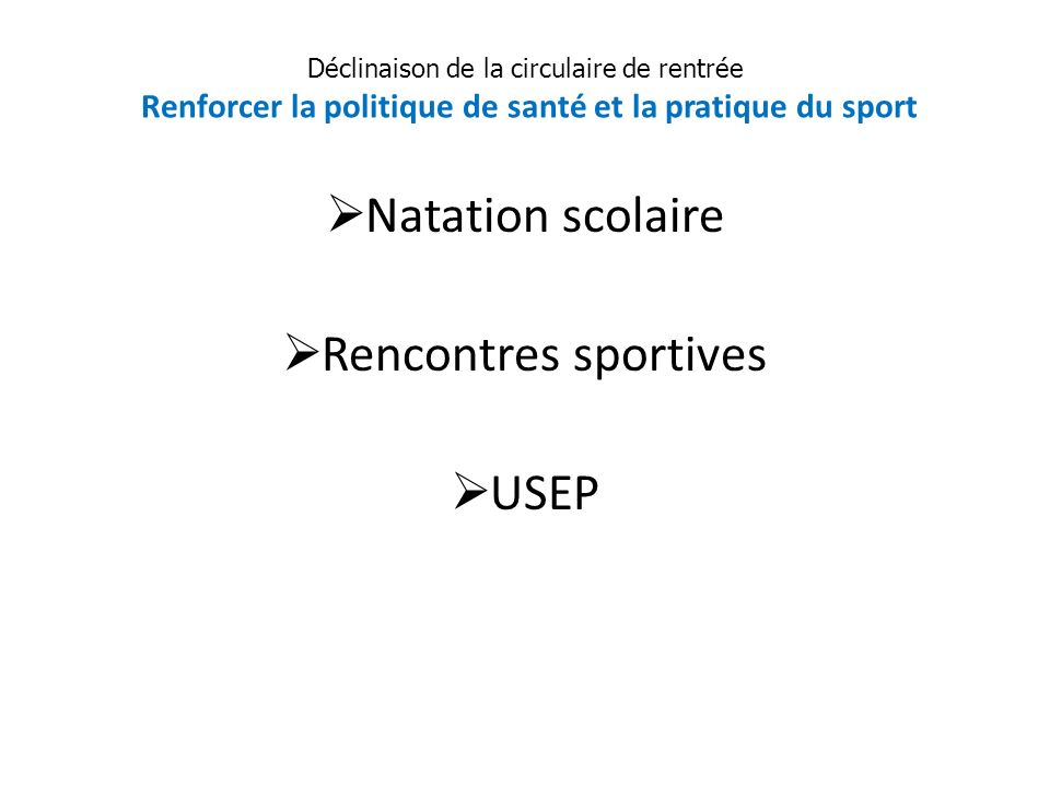 Natation scolaire Rencontres sportives USEP