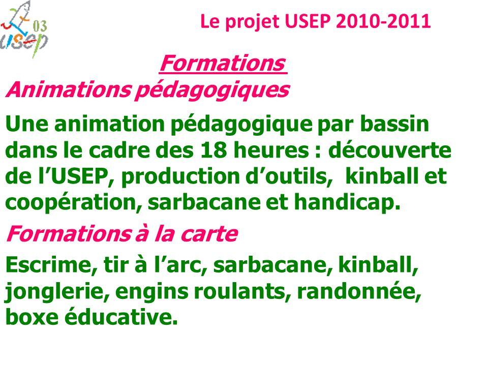 Le projet USEP 2010-2011 Formations. Animations pédagogiques.