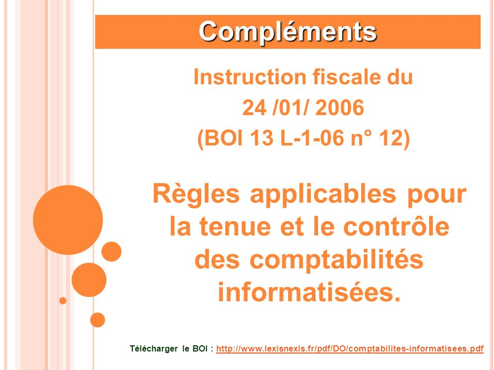 Instruction fiscale du