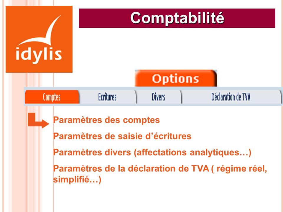 Comptabilité Paramètres des comptes Paramètres de saisie d'écritures