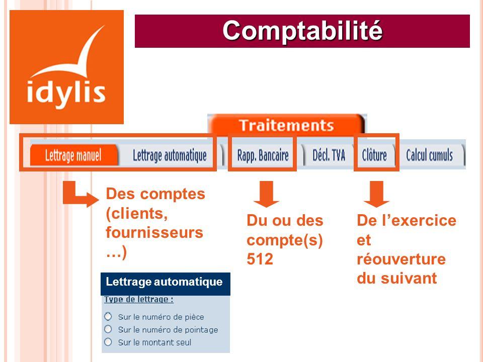 Comptabilité Des comptes (clients, fournisseurs…)