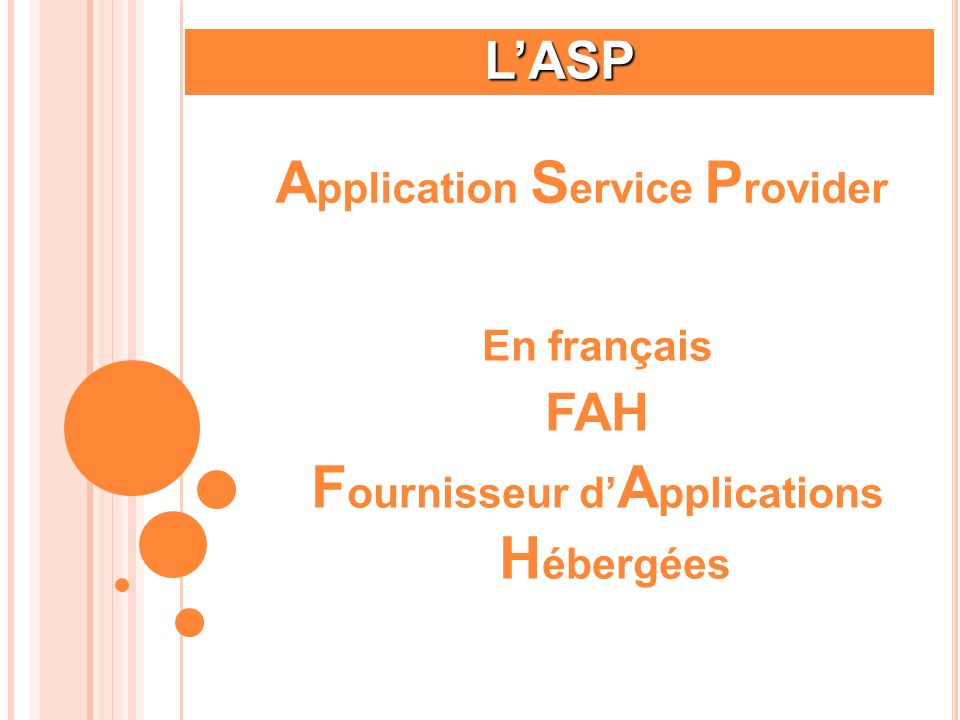 Application Service Provider Fournisseur d'Applications Hébergées