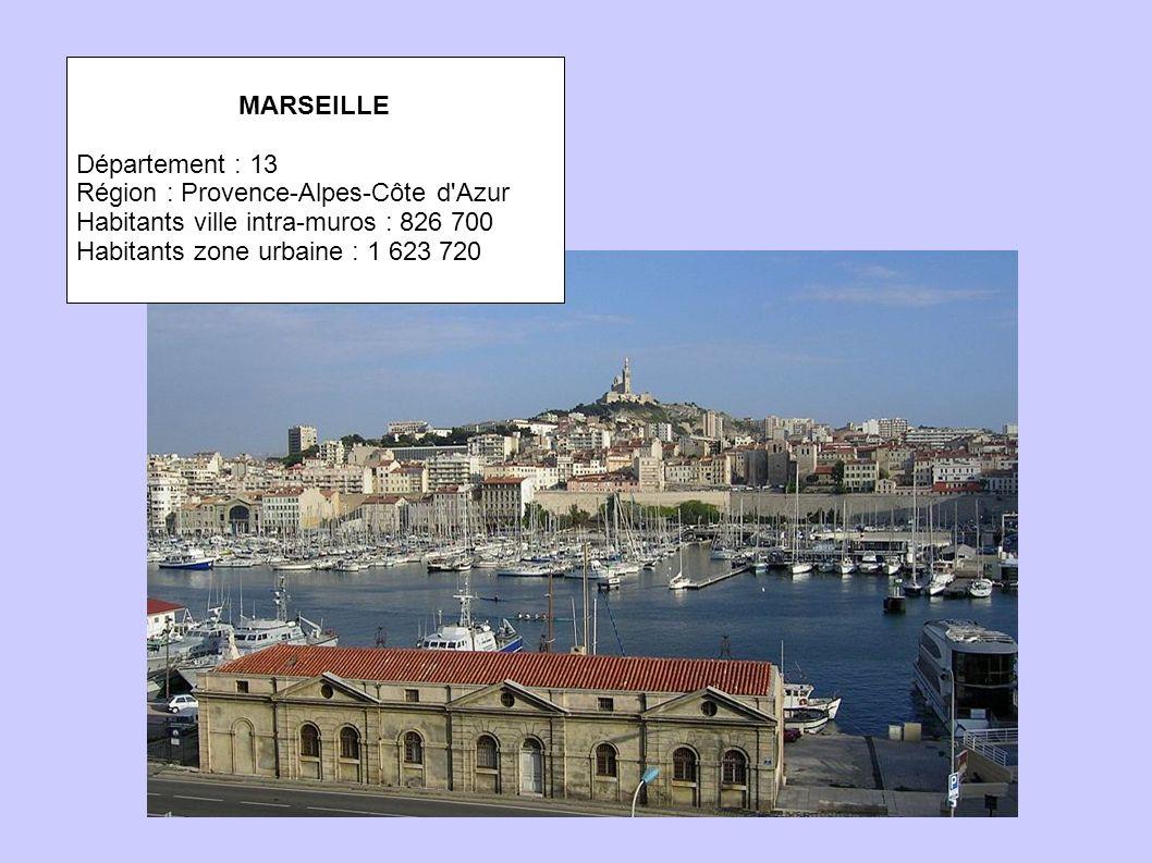 MARSEILLE Département : 13. Région : Provence-Alpes-Côte d Azur. Habitants ville intra-muros : 826 700.