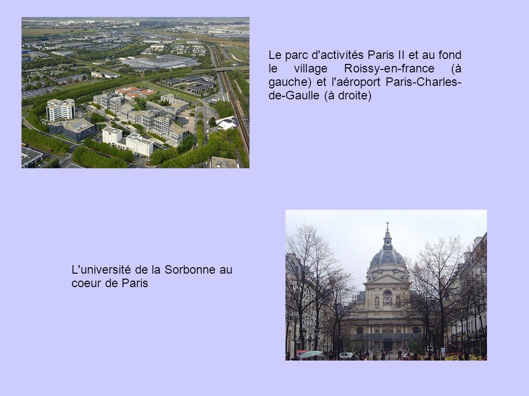 Le parc d activités Paris II et au fond le village Roissy-en-france (à gauche) et l aéroport Paris-Charles-de-Gaulle (à droite)