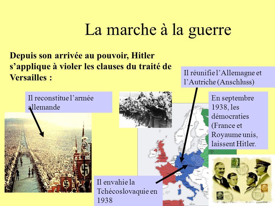 La marche à la guerre Depuis son arrivée au pouvoir, Hitler s'applique à violer les clauses du traité de Versailles :