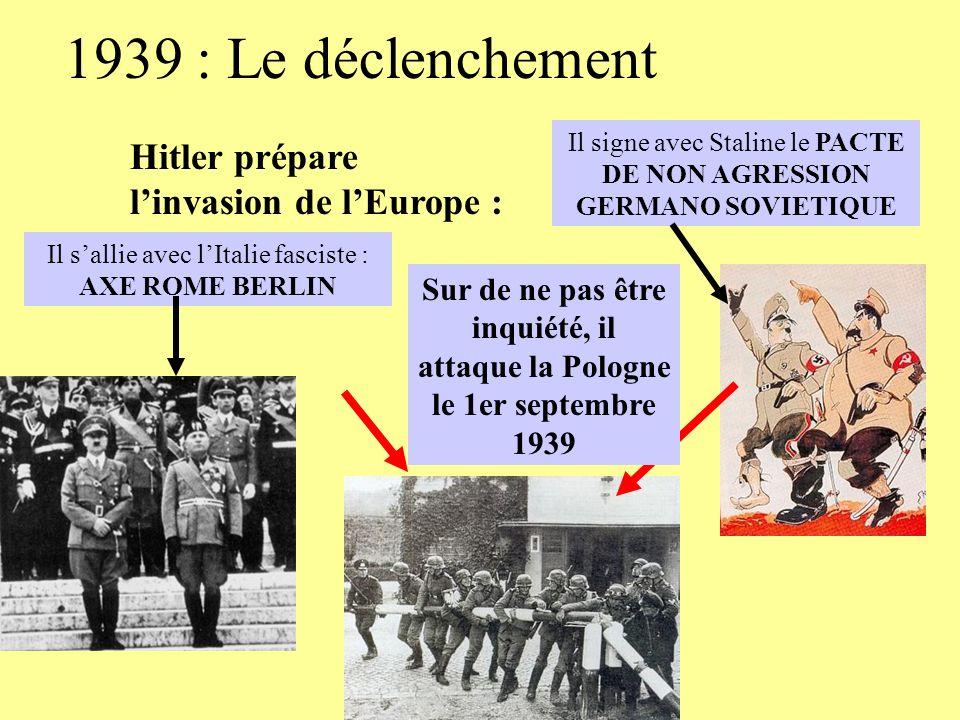 1939 : Le déclenchement Hitler prépare l'invasion de l'Europe :