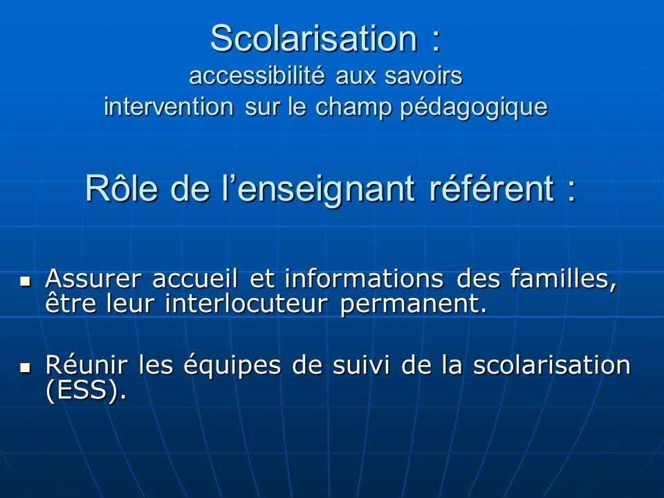 Scolarisation : accessibilité aux savoirs intervention sur le champ pédagogique Rôle de l'enseignant référent :