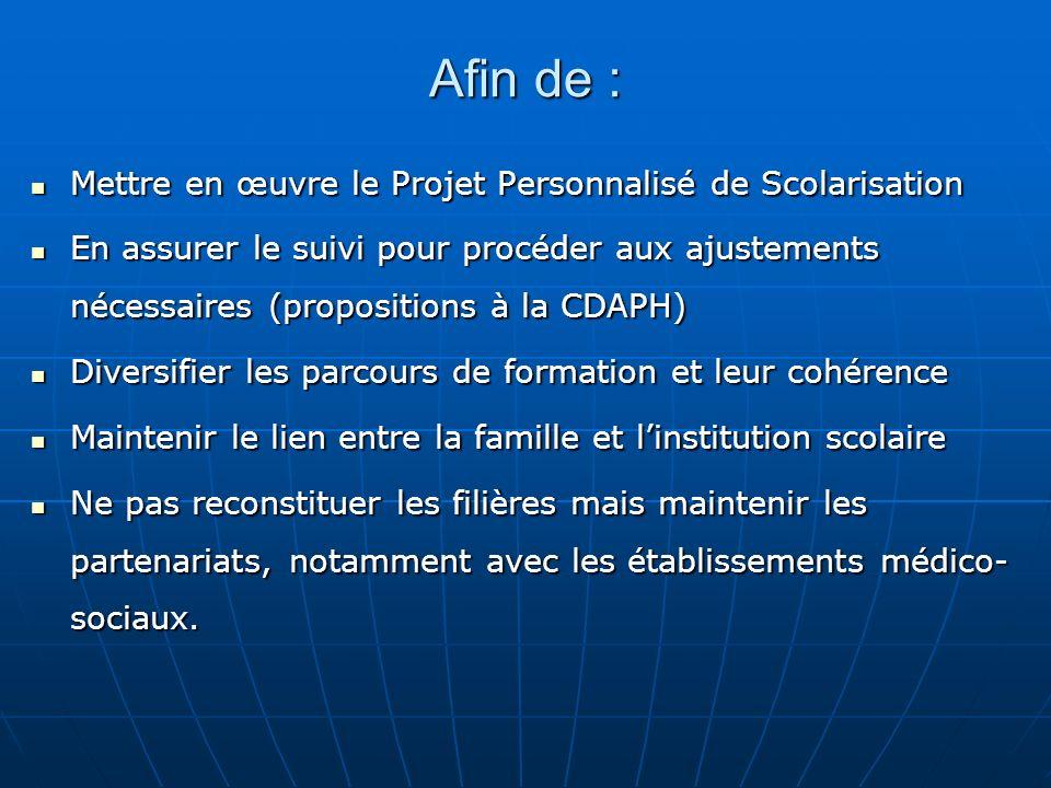 Afin de : Mettre en œuvre le Projet Personnalisé de Scolarisation